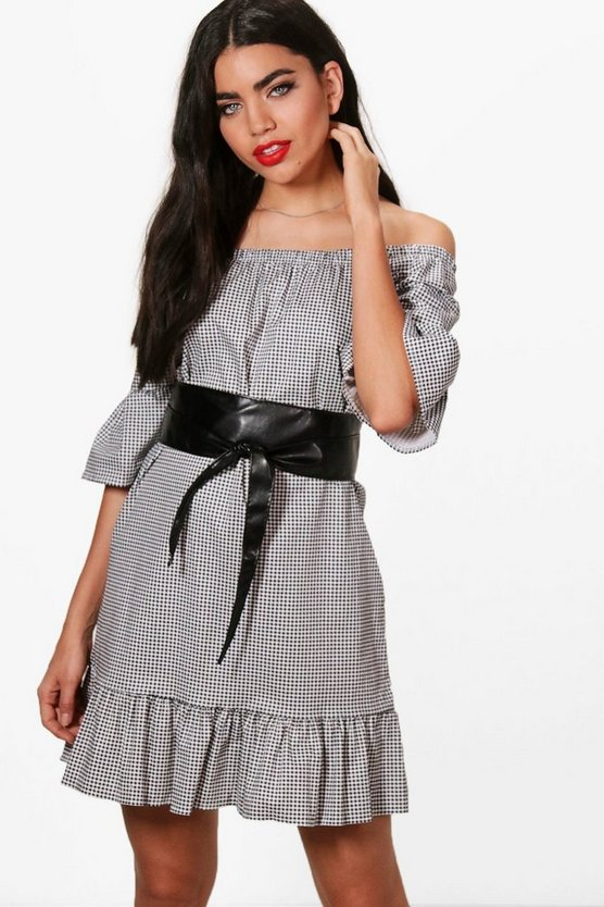 Erin Belted Gingham Off Shoulder Dress