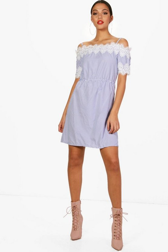 Stripe Bardot Lace Trim Dress