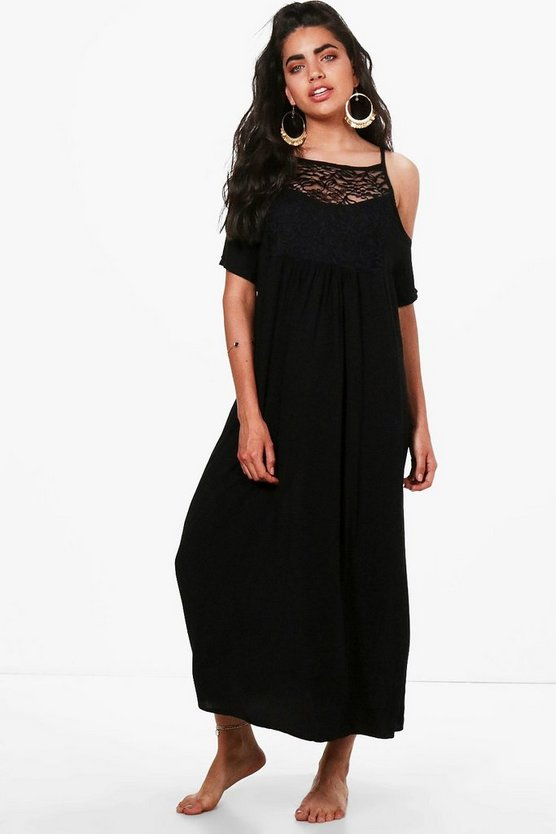 Womens Black Embellished Beach Maxi Dress