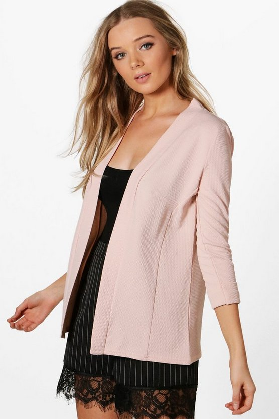 Heather Collarless Waffle Blazer