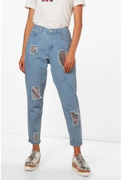 Womens Mid blue Sequin Boyfriend Jeans