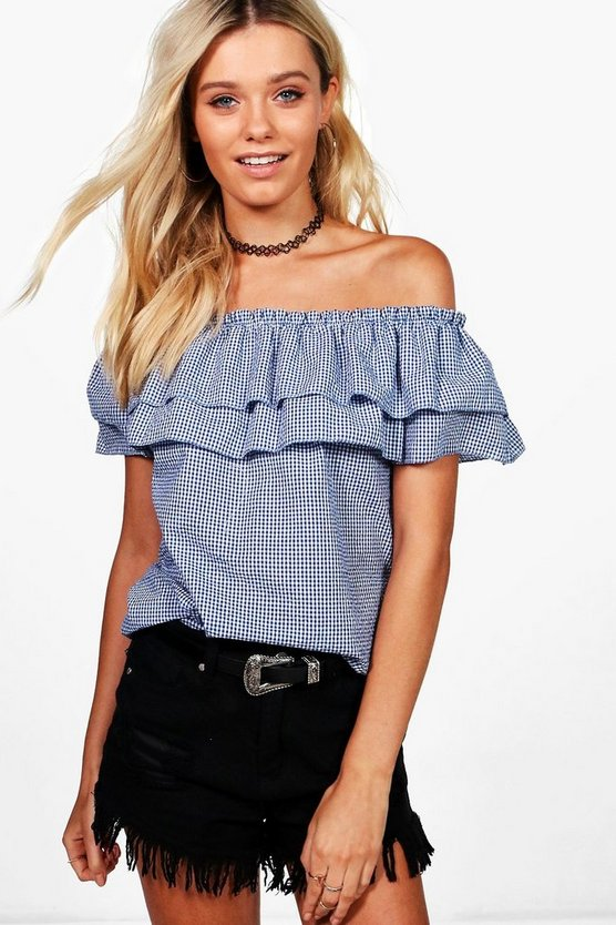 Sophia Gingham Ruffle Off The Shoulder Top