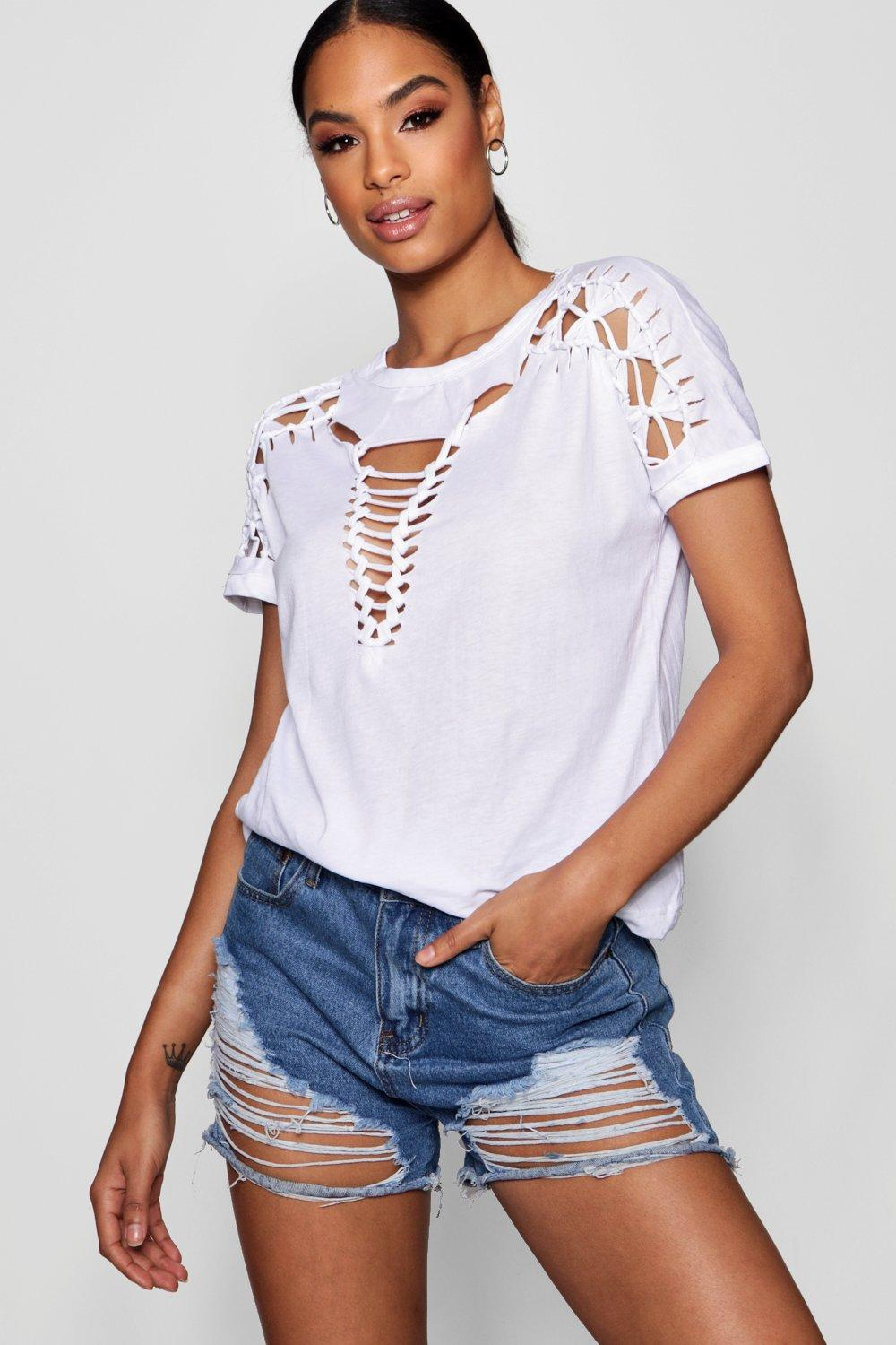 Lace Up Shoulder Detail T Shirt | Boohoo