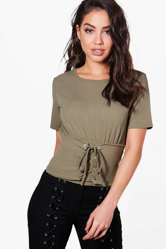Imogen Corset Lace Up Textured Top