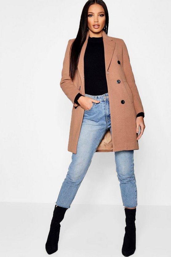 Double Breasted Wool Look Coat, Camel, Donna