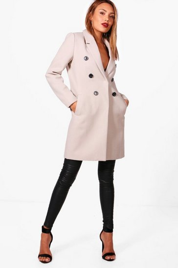 Womens Stone Double Breasted Wool Look Coat