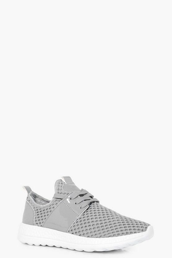 Womens Grey Leah Knitted Lace Up Trainer