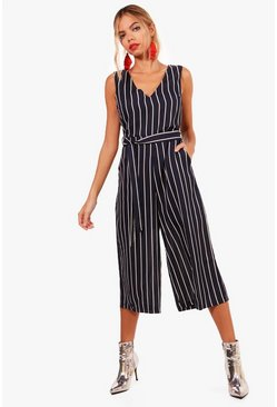Womens Navy Striped Belted Culotte Jumpsuit