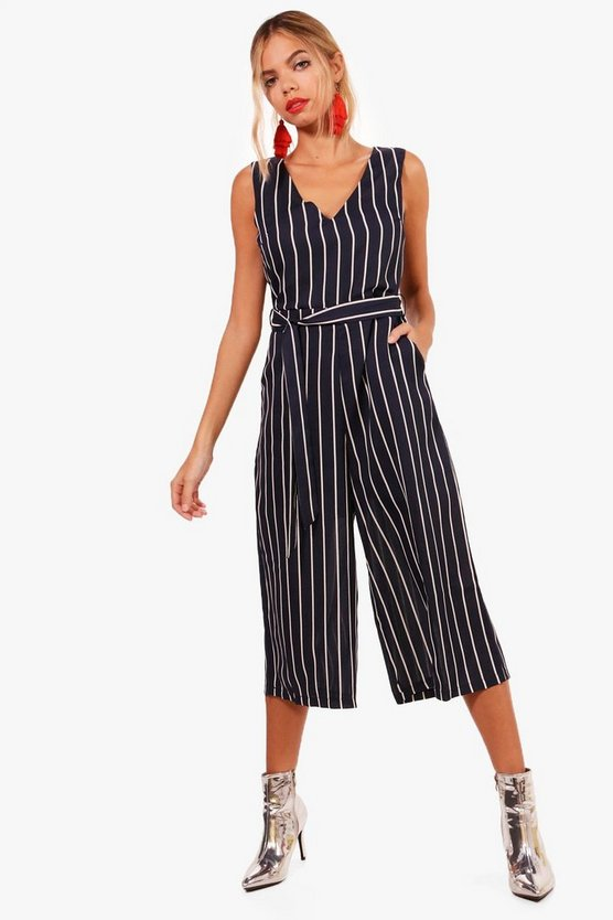 Striped Belted Culotte Jumpsuit