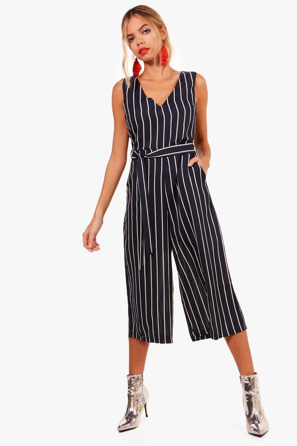 158fe3072805 Striped Belted Culotte Jumpsuit