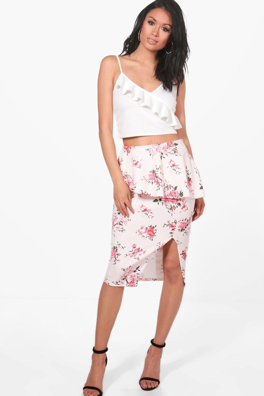 Charlotte Peplum Split Front Floral Midi Skirt