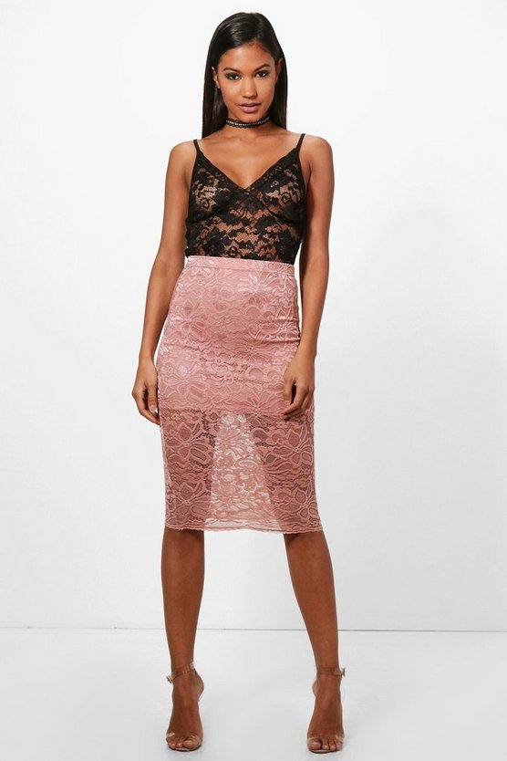 Leah Basic Lace Midi Skirt