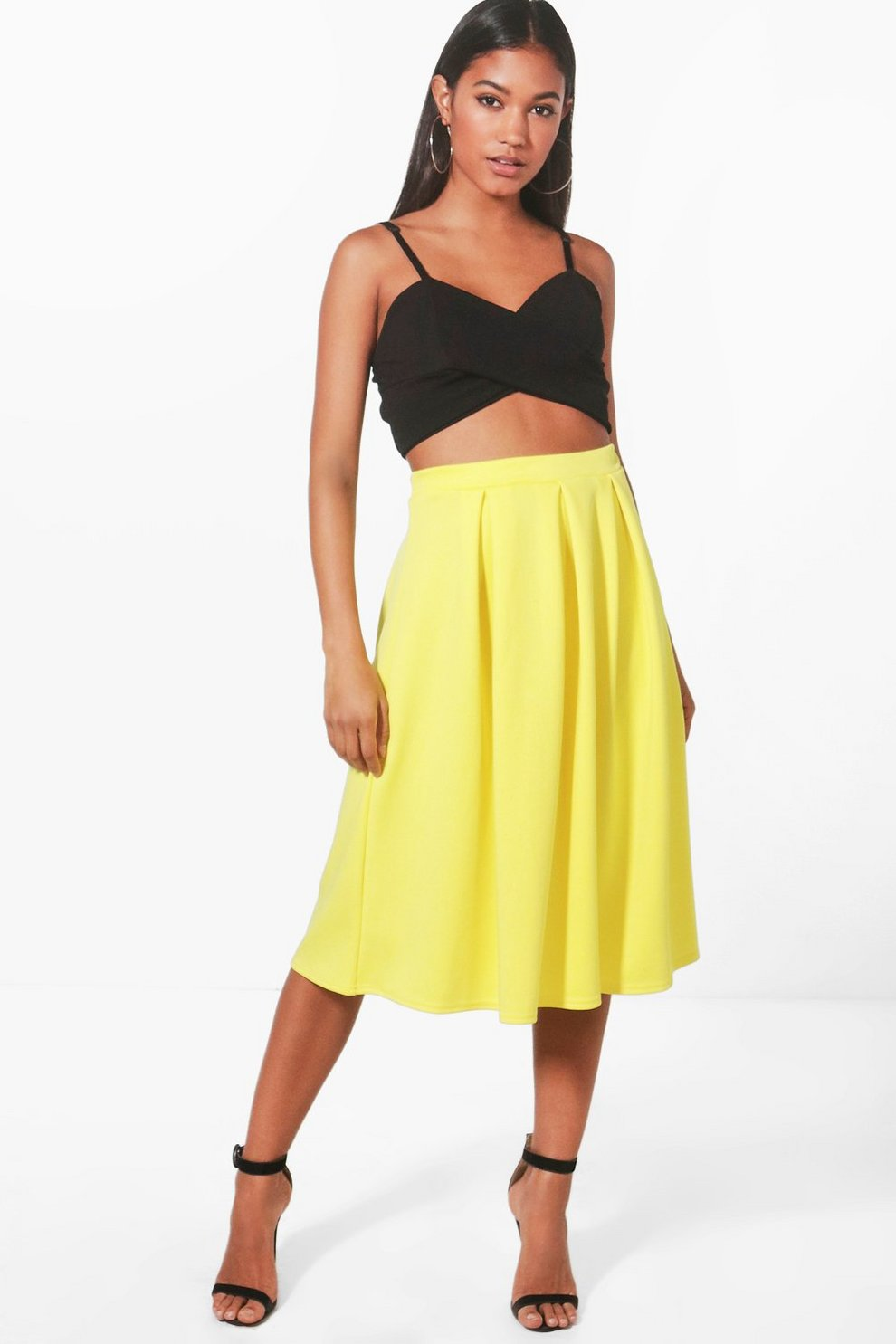 eba4eeb80 Box Pleat Midi Skirt Yellow