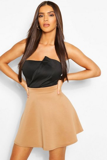 Womens Camel Basic Fit And Flare Skater Skirt