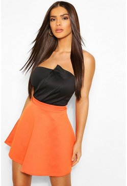 Orange Basic Fit And Flare Skater Skirt