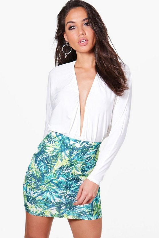 Ella Palm Print Mini Skirt