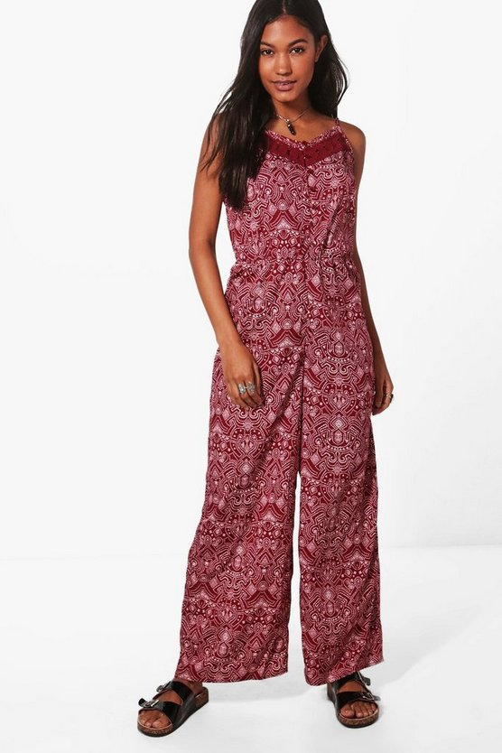 Ellie Crochet Trim Printed Jumpsuit