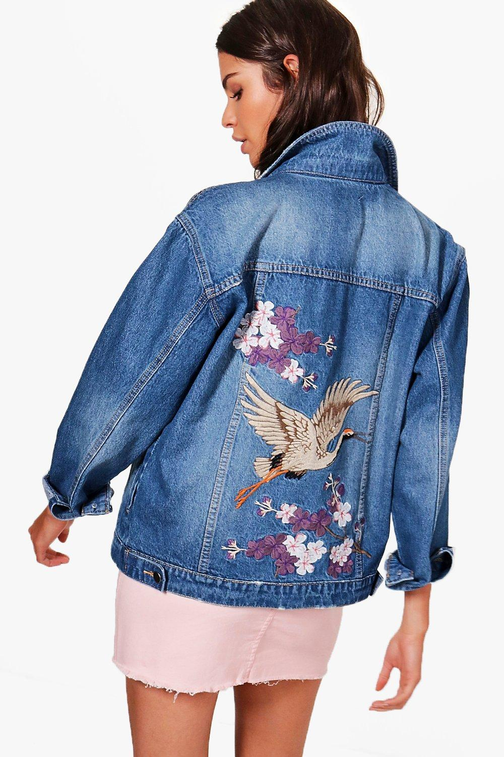 ce39cfb9d3 Oriental Embroidered Denim Jacket | Boohoo