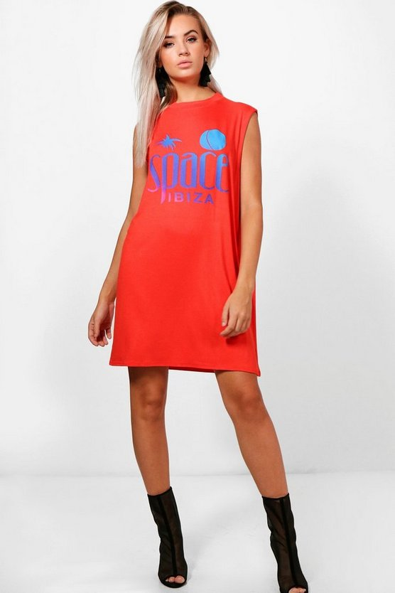 Space Sleeveless T-Shirt Dress