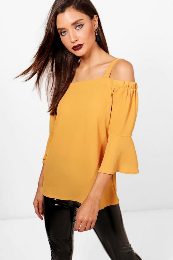 Womens Mustard Cold Shoulder Ruffle Sleeve Blouse