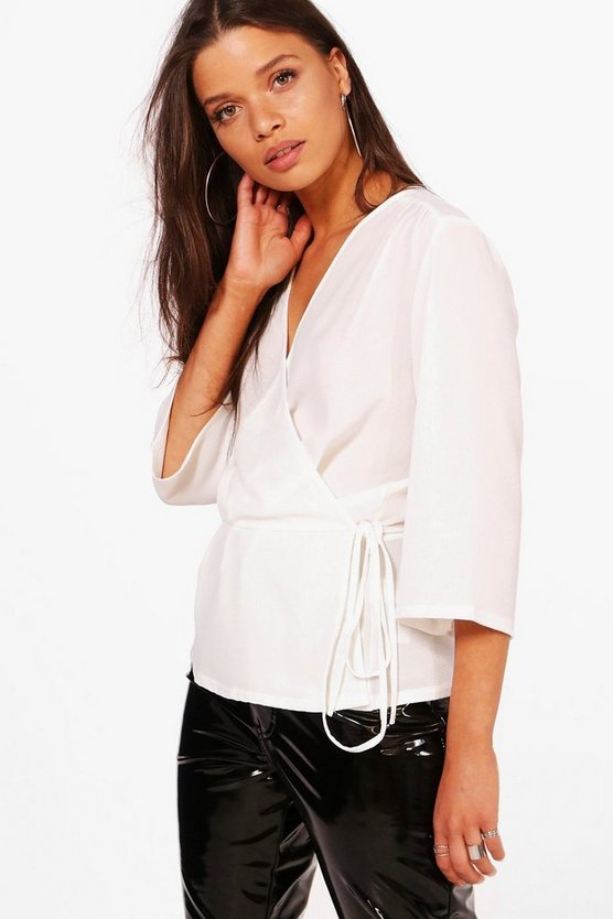 Womens Wrap Front Plunge Blouse