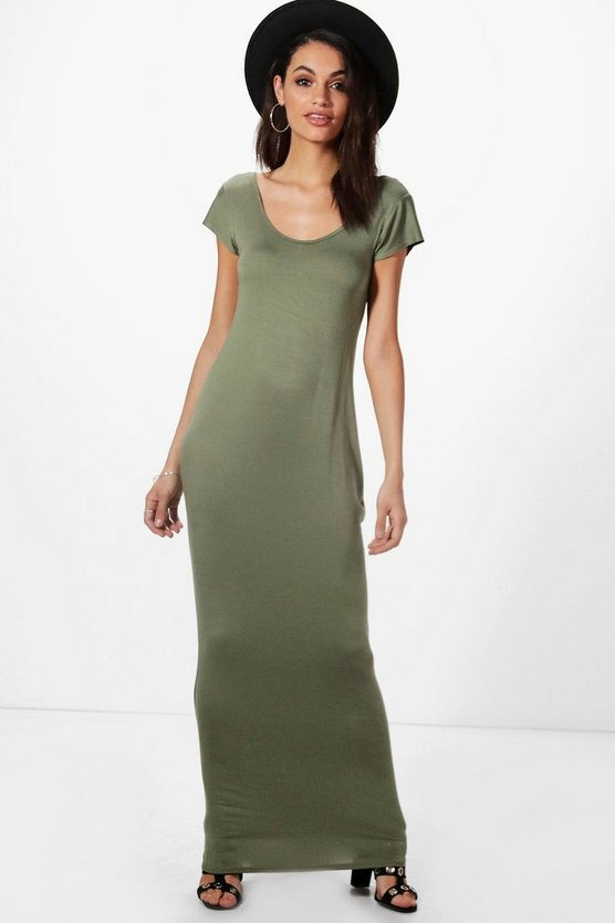 Womens Khaki Rita Cap Sleeve Scoop Neck Maxi Dress