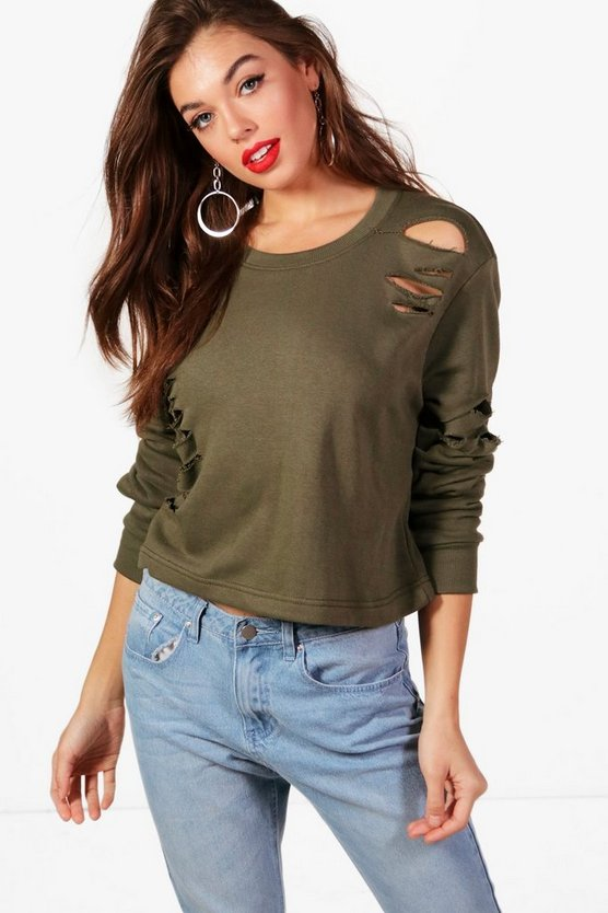 Melanie Distressed Crop Sweat