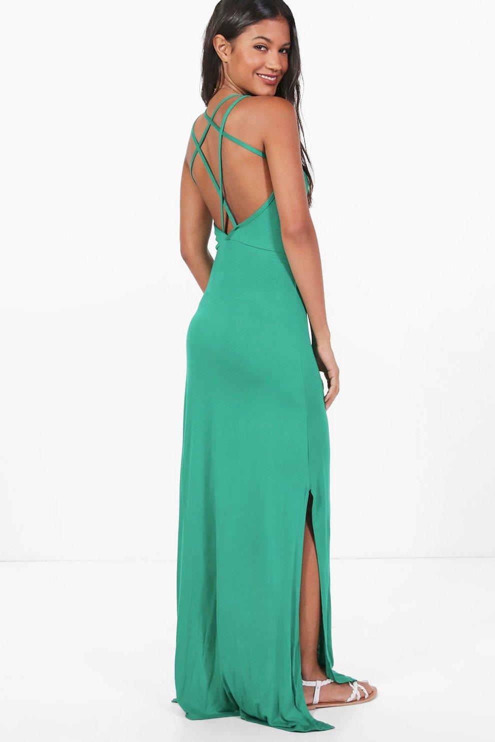 4b62803e9 catherine robe maxi croisée au dos et fendue sur le côté | Boohoo
