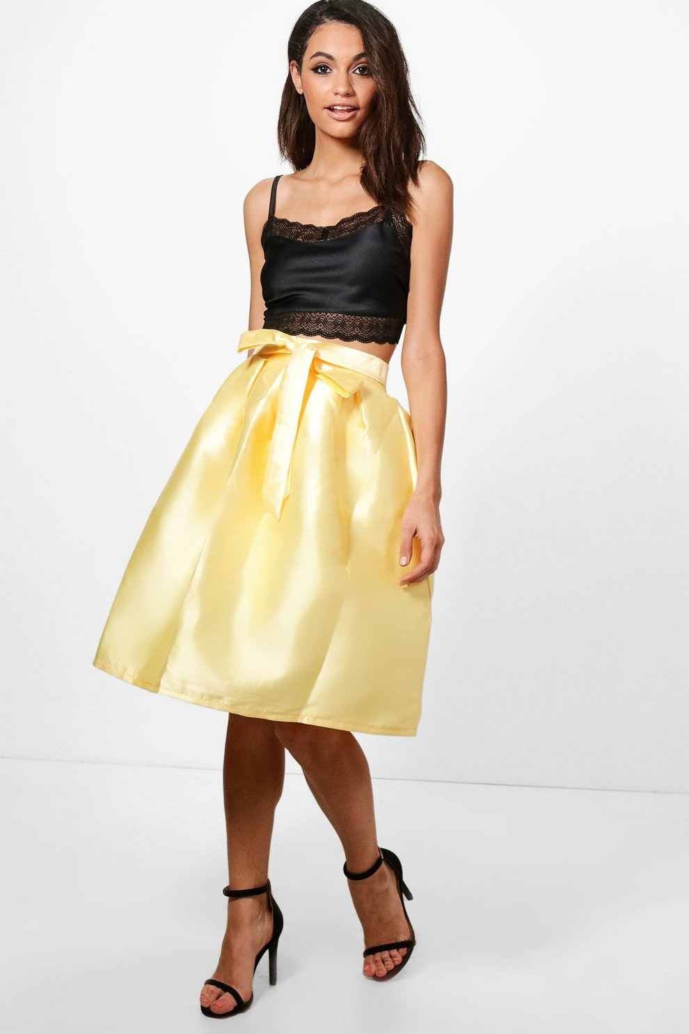 Azaria Bow Front Woven Box Pleat Midi Skirt  1f21ba4f9e5