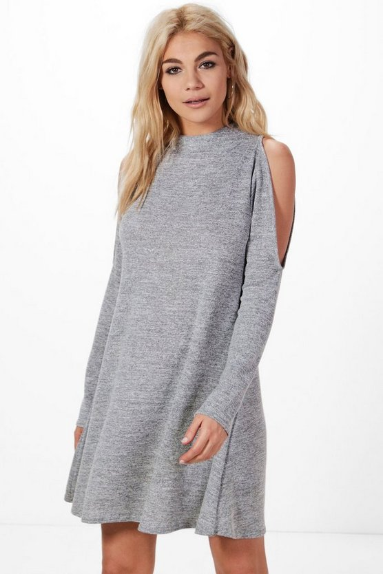 Womens Grey Zoe Cold Shoulder Funnel Neck Knitted Dress