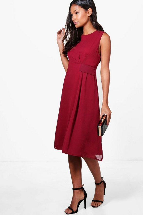 Rowen Pleat and Gather Midi Skater Dress