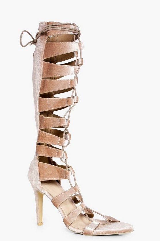 Womens Gold Maddison Knee High Lace Up Gladiator Heel