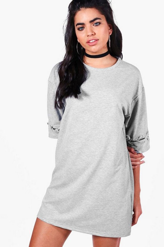 Kelsey Eyelet Lace Up Sleeve Sweat Dress