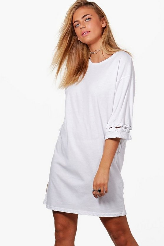 Eyelet Lace Up Cuff T-Shirt Dress