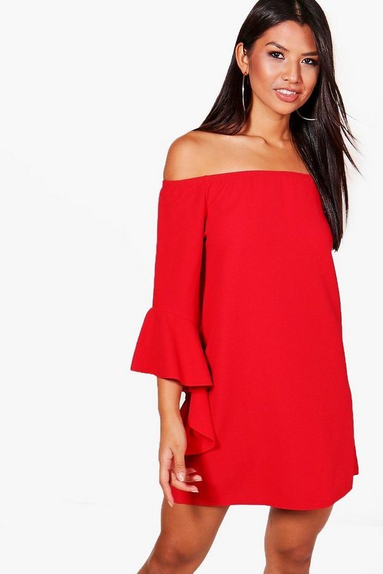 Womens Red Georgia Off Shoulder Waterfall Sleeve Shift Dress