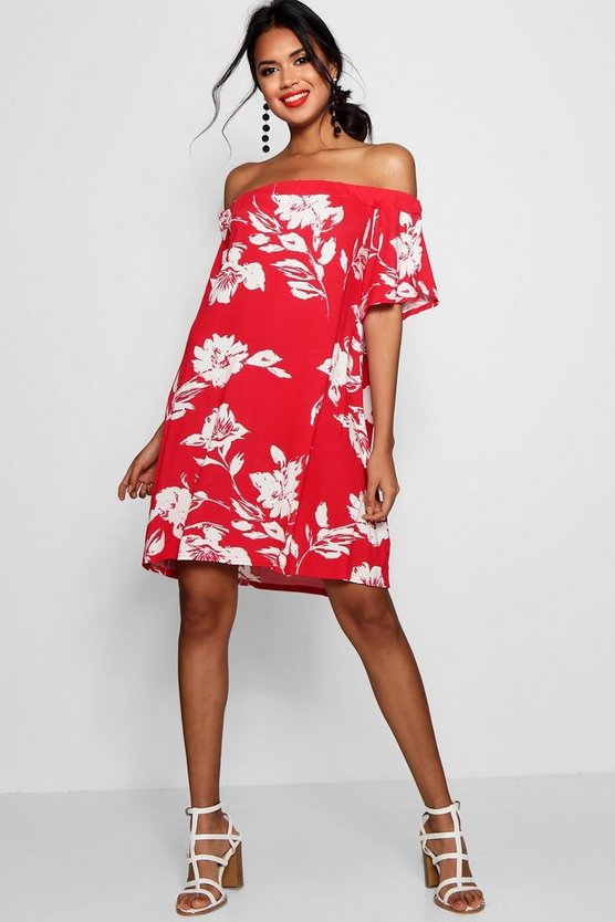Off One Shoulder Floral Shift Dress