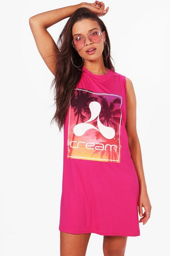 Emma Cream Ibiza Slogan T-Shirt Dress