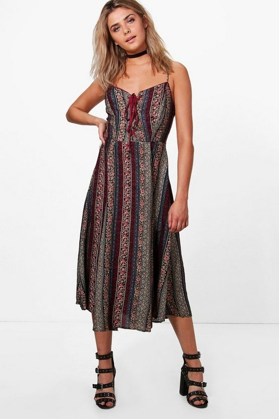 Skye Printed Lace Up Midi Dress