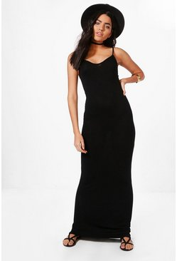 Womens Black Basic Strappy Maxi Dress