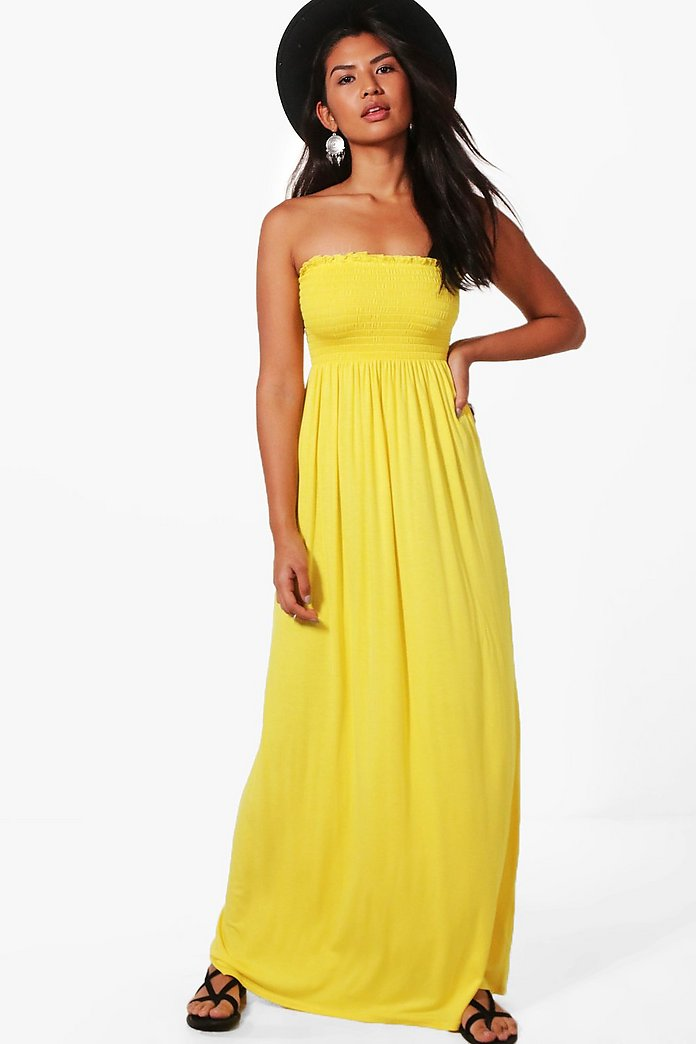 d922f7c4b97a4 Shelley Shirred Bandeau Maxi Dress | Boohoo