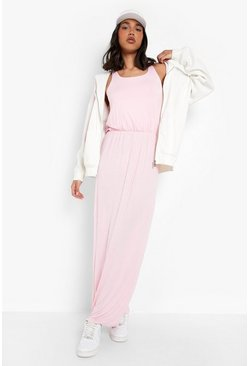Racer Back Maxi Dress, Antique rose, Donna