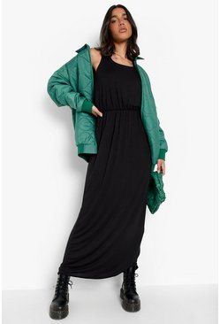 Racer Back Maxi Dress, Black