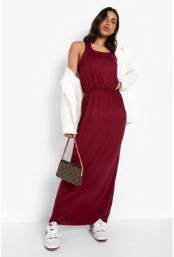 Racer Back Maxi Dress, Burgundy, Donna