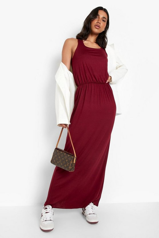 Womens Burgundy Racer Back Maxi Dress