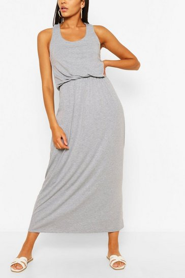 Grey Racer Back Maxi Dress