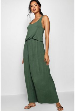 Womens Khaki Racer Back Maxi Dress