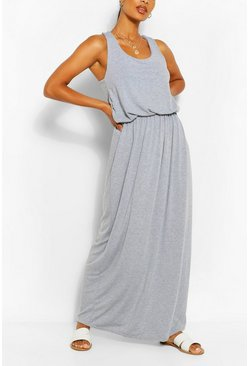 Racer Back Maxi Dress, Light grey, Donna