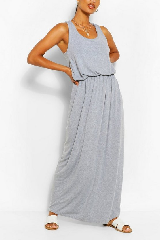 Womens Light grey Racer Back Maxi Dress