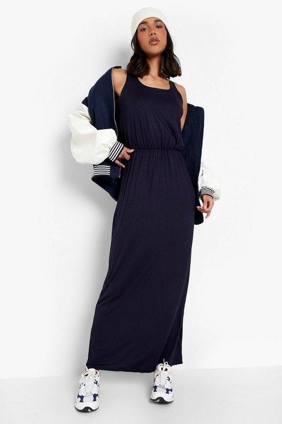 Womens Navy Racer Back Maxi Dress