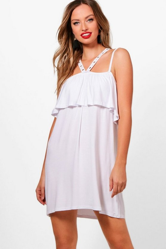 Cross Strappy Eyelet Swing Dress